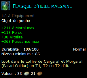 Flasque d'huile malsaine