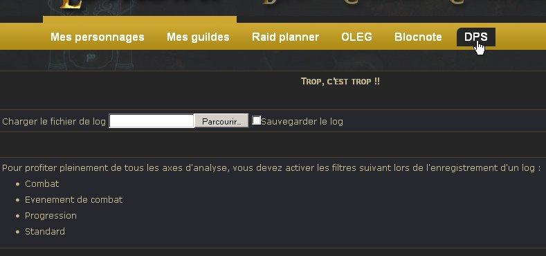 Page d'accueil, contient des conseils pour enregistrer un log combat complet