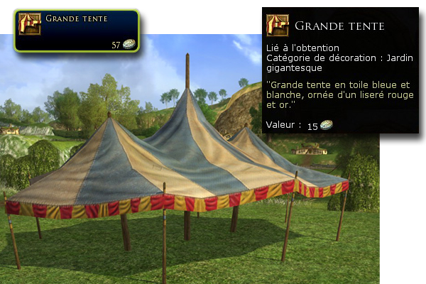 Attention, la Grande Tente n'entrera qu'à l'intérieur du jardin d'une maison de confrérie!