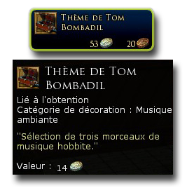 Si vous aimez le style musical Hobbit et le petit air de Tom Bombadil, vous pourrez obtenir cette boite à musique pour maison au statut Allié de la faction.
