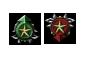 Le symbole de réputation incrémentée (vert) et celui de la réputation qui baisse (rouge)